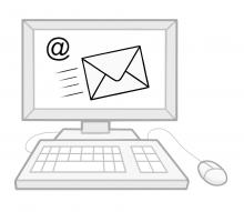 Icon: Ein Computer mit einer Tastatur und Maus davor. Auf dem Bildschirm ist ein @ Zeichen und Ein Briefumschlag abgebildet. Das Soll eine E-Mail darstellen