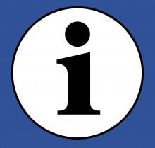Icon: Ein weißer Kreis mit einem I in der Mitte auf dunkelblaumem Hintergrund. Das Icon steht für Information